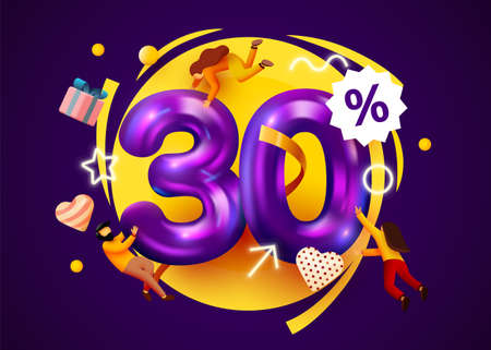 Mega sale. 30 percent discount. Special offer 30% background with flying people. Promotion poster or banner. Иллюстрация