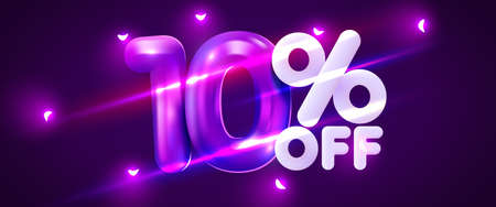 10 percent Off. Discount creative composition. 3d mega sale symbol with decorative objects. Sale banner and poster. Иллюстрация