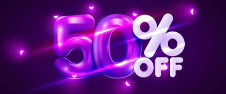 50 percent Off. Discount creative composition. 3d mega sale symbol with decorative objects. Sale banner and poster. Иллюстрация