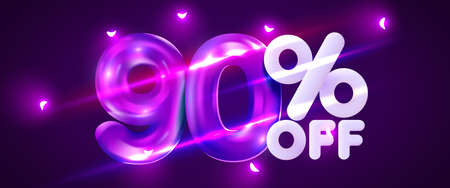 90 percent Off. Discount creative composition. 3d mega sale symbol with decorative objects. Sale banner and poster. Иллюстрация