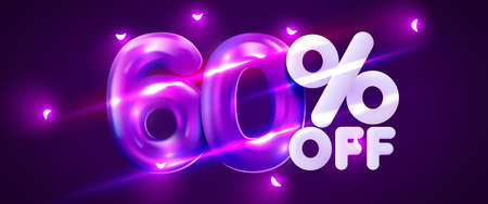 60 percent Off. Discount creative composition. 3d mega sale symbol with decorative objects. Sale banner and poster. Иллюстрация