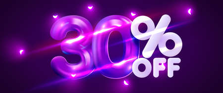 30 percent Off. Discount creative composition. 3d mega sale symbol with decorative objects. Sale banner and poster. Иллюстрация