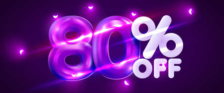 80 percent Off. Discount creative composition. 3d mega sale symbol with decorative objects. Sale banner and poster. Иллюстрация