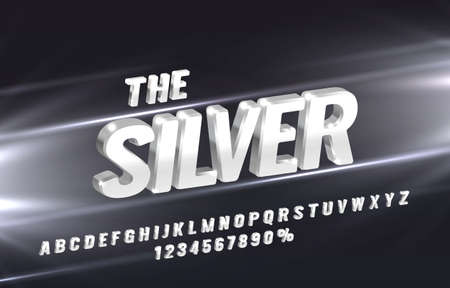 the silver font set collection, letters and numbers symbol. Vector Иллюстрация