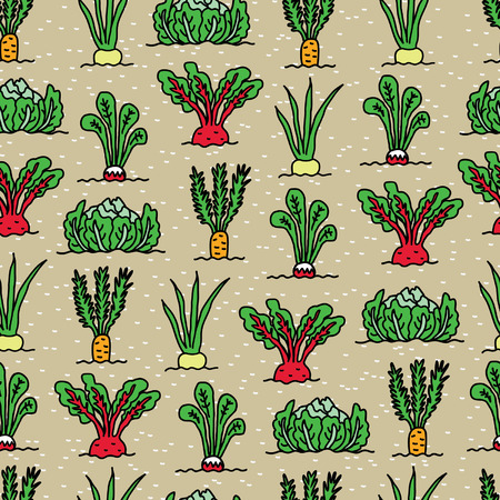 vegatables: Seamless pattern in an amusing style on the theme of vegetables in the garden Illustration
