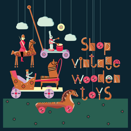 toyshop: Vector illustration on the theme of traditional vintage wooden toys.