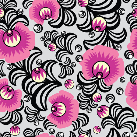 russian: Russian floral seamless pattern.