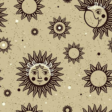 sol y luna: Modelo inconsútil del vector con las imágenes del sol, la luna y las estrellas en el estilo vintage. Vectores