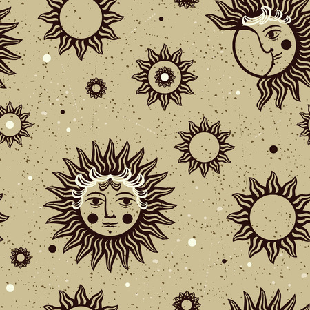 sun moon: Seamless vector pattern with images of the sun, moon and stars in vintage style.