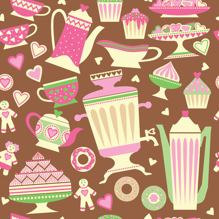 samovar: Seamless pattern with images of tea utensils and sweets. Samovar and tea cups, vases, cupcakes, cakes. Illustration