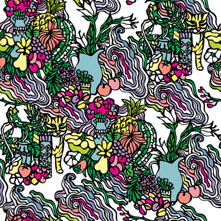stranded: Stranded seamless vector pattern with images of waves, flowers and fruits.