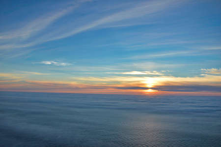 Midnight sun view from Nordkapp, the end of Europe, Norway, with the ocean