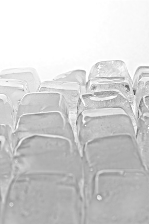 Melted Ice cubes on the white. Stock Photo