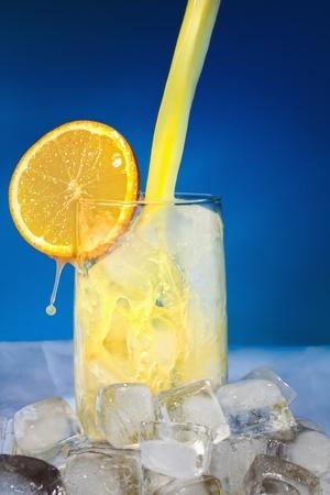 Orange juice - a fresh morning drink. Stock Photo