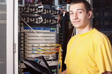 The engineer in datacenter Stock Photo - 8766227