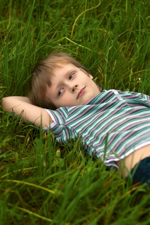 The little boyi in a grass Stock Photo - 8766237