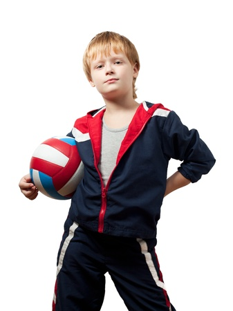 The cute little boy in a jumpsuit holds a ball Stock Photo - 8884788