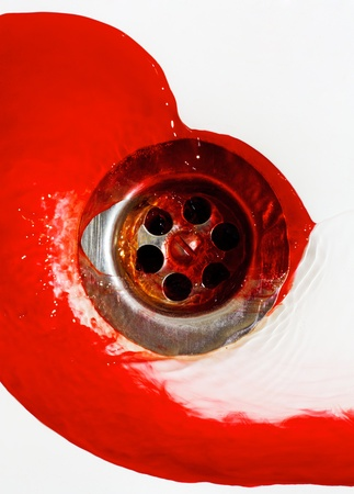 Blood flow in the sink.