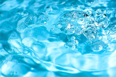 Blur blue abstract water with bubbles in water ripple. Macro. Closeup. Copy-space. Stock Photo