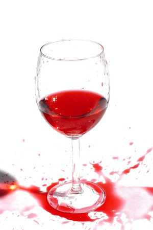 accurately: After a party. Not accurately juicy wine. Isolated over white. Copy-space. Stock Photo