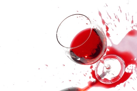 After a party. Not accurately juicy wine. Isolated over white. Copy-space. Stock Photo