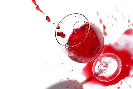 After a party. Not accurately juicy wine. Isolated over white. Copy-space. Stock Photo - 10353704