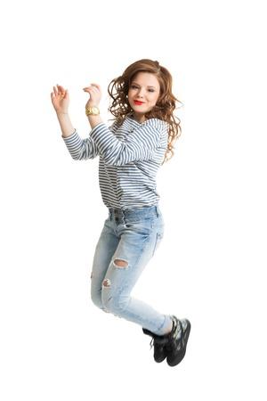 Girl in a striped vest photo