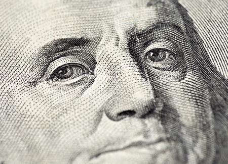 benjamin: Macro of Benjamin Franklins face on the US $100 dollar bill