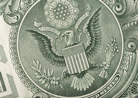 macro photo: Dollar eagle banknote. Close up. Macro photo. Stock Photo