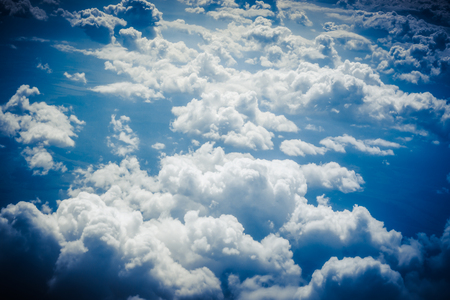 Clouds from above. View from airplane. Stock Photo