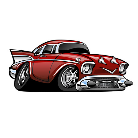 race cars: Classic American Muscle Car, red, cartoon illustration isolated on white background
