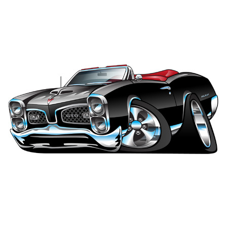 American Muscle Car, black convertible, cartoon illustration isolated on white background Vettoriali