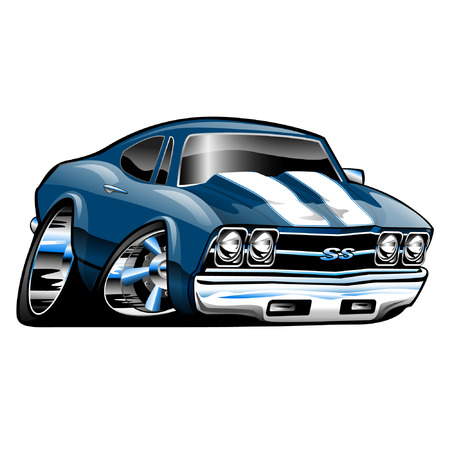 American Muscle Car, blue, cartoon illustration isolated on white background
