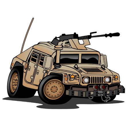 Military Truck, cammo tan,  cartoon illustration isolated on white background