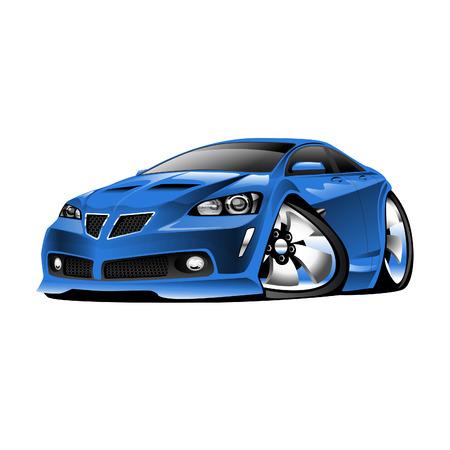 미국 스포츠 자동차, 블루, 만화 그림 흰색 배경에 고립 일러스트