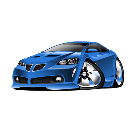 low tire: American Sports Car, blue, cartoon illustration isolated on white background