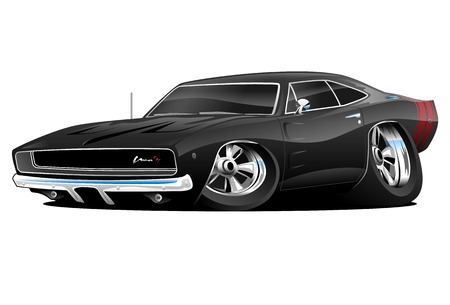 low tire: American Muscle Car, black, cartoon illustration isolated on white background