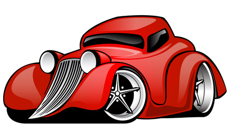 Red Hot Rod Custom Coupe cartoon illustration isolated on white background