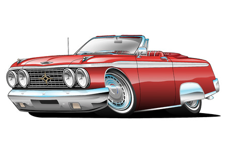 red sports car: American Classic Car, red, cartoon illustration isolated on white background