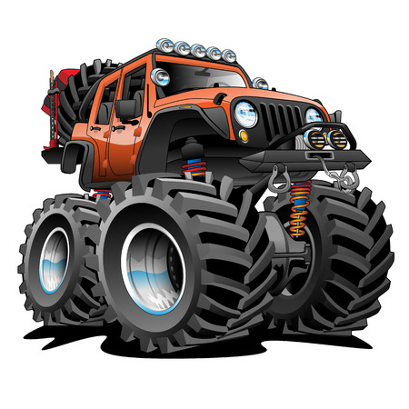 4x4 Off Road Vehicle Cartoon Illustration