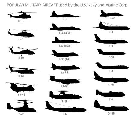 미국 현대 군사 항공기의 실루엣