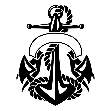 shaft: Anchor with Rope and Banner Illustration