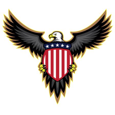 aigle: American Eagle patriotique ailes déployées tenant un bouclier Illustration