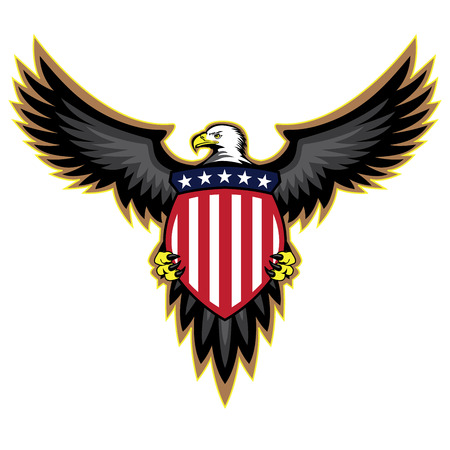 eagle feather: Patriotic American Eagle Wings Spread Holding Shield
