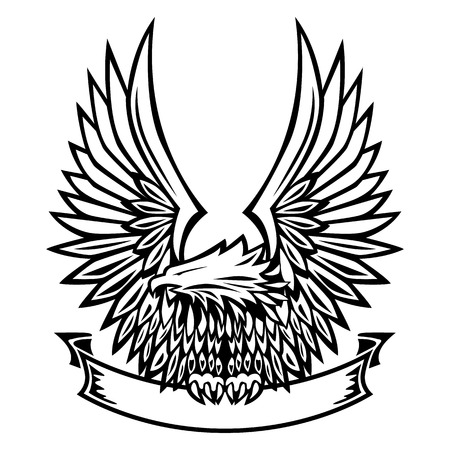 hawks: Eagle Emblem Wings Spread Holding Banner Illustration