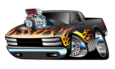yellow car: Hot Rod Pickup Truck Illustration