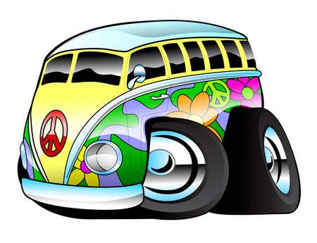 funny surfer: Colorful Hippie Surfer Bus Illustration