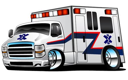 화이트 응급 구급 구조 트럭 그림