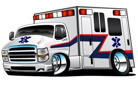 White Paramedic Ambulance Rescue Truck Illustration