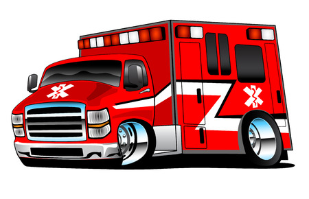 paramedic: Red Paramedic Ambulance Rescue Truck Illustration